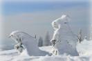 Schneefrau mit Mann beim Wandern